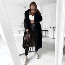 Otoño invierno abrigo mujer Casual holgado largo abrigo femenino Vintage de talla grande grueso de piel sintética chaquetas de felpa abrigo 2020