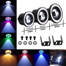цена на Car COB 1200LM 30W Light LED Fog Light White Angel Eye DRL Driving Projector Signal Bulbs Fog Lamps Auto Tuning Car Lamp 2pcs