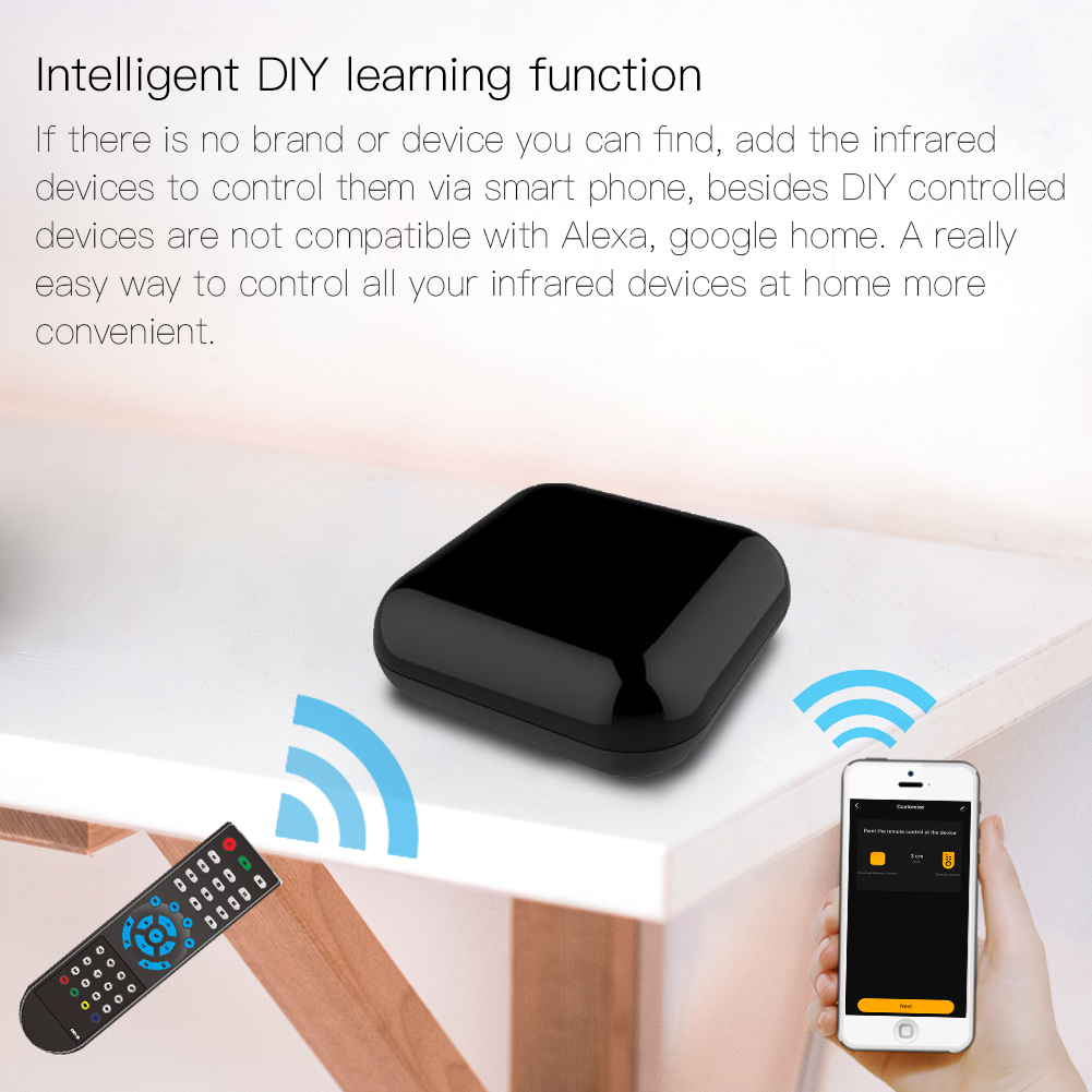 WiFi Smart IR Wireless Infrared Remote Control TV Air Condition SAT by Smart Life/Tuya APP,Works with Alexa Echo Google Home