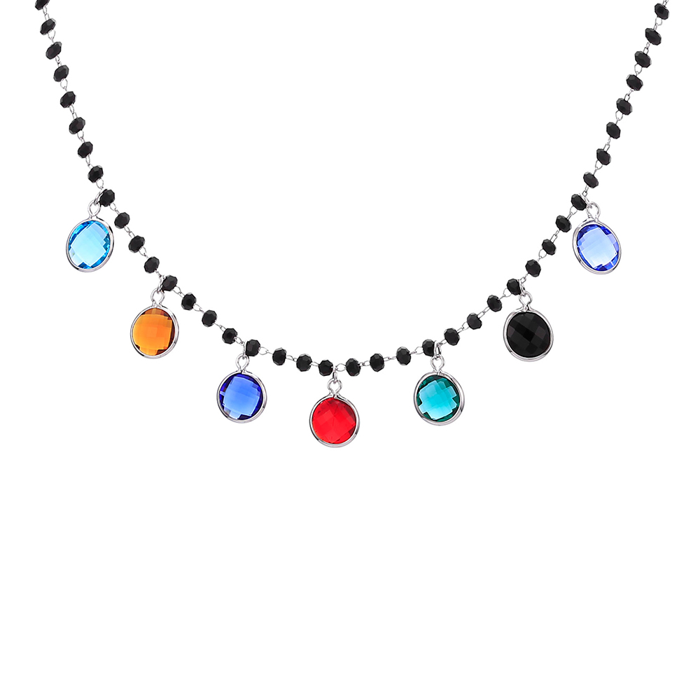 Colorful Cubic Zirconia Drop Necklace For Women Color Black Beaded Bohemia Choker Necklace Gift For Mom Female Jewelry Dropship image
