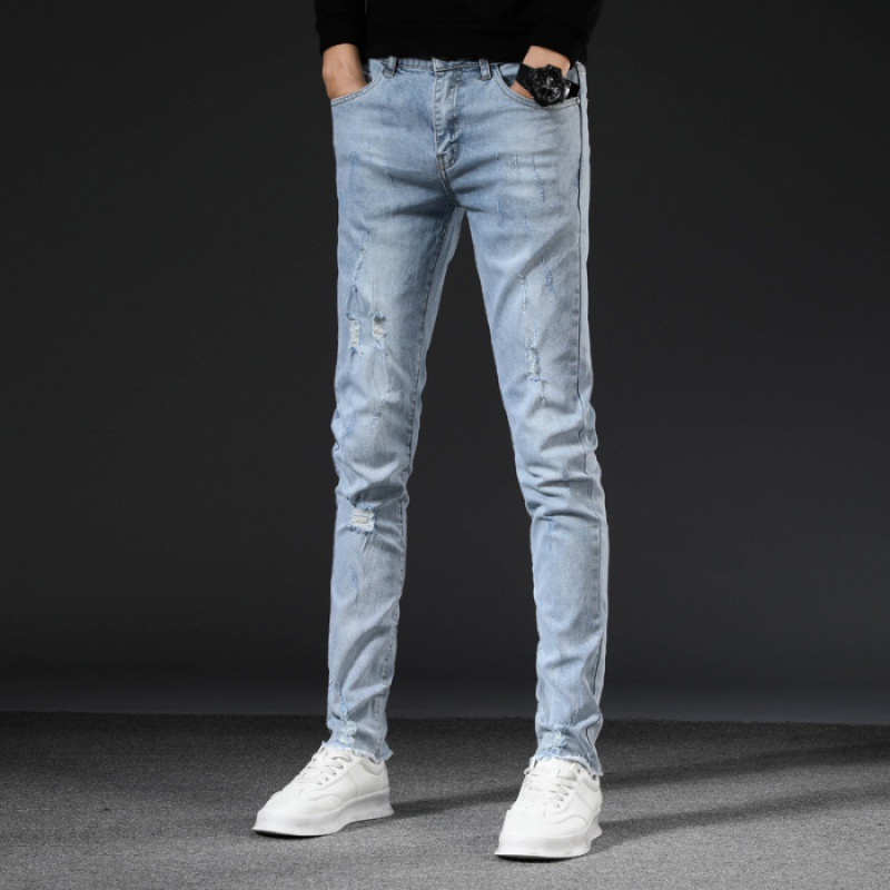 Spring And Autumn New Style Men Light Blue With Holes Elasticity Jeans Korean-style Youth Fashion Beggar Skinny Pants