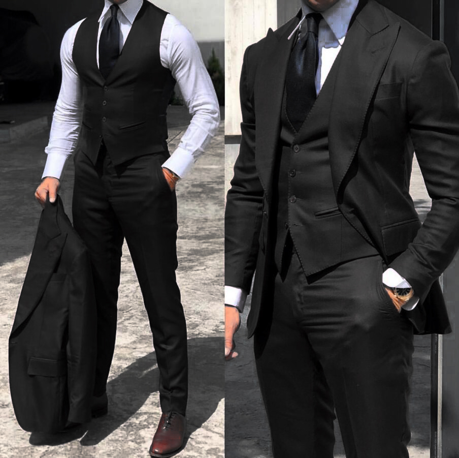 wedding : Classy Wedding Tuxedos Suits Slim Fit Bridegroom For Men 3 Pieces Groomsmen Suit Male Cheap Formal Business   Jacket Vest Pants