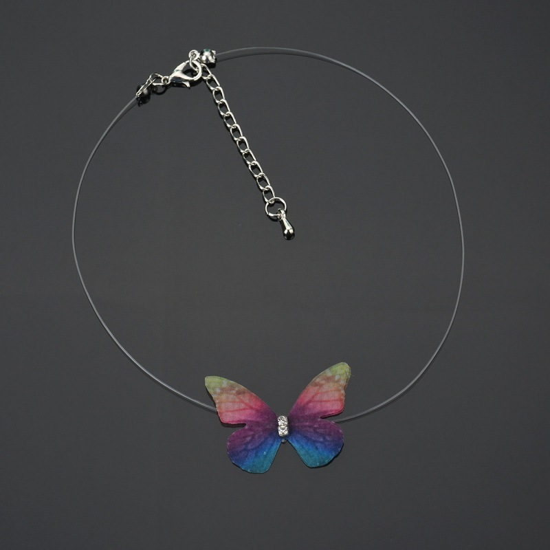 Korean version of tulle butterfly invisible short necklace female sweet temperament clavicle chain