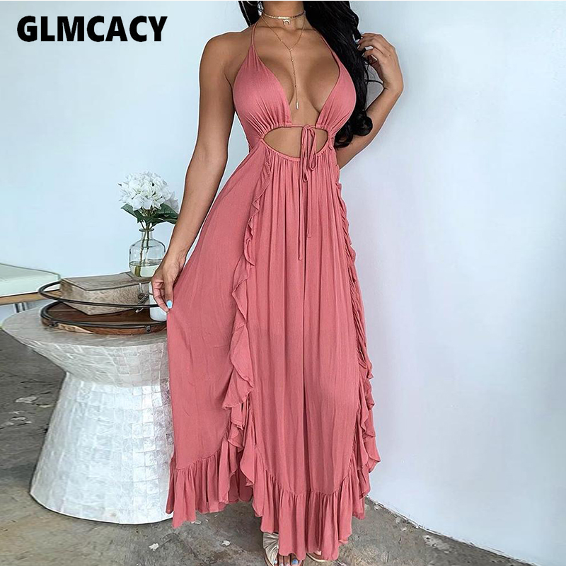 Women Solid Backless Cut Out Detail Cascading Ruffles Dress Beach Style Holiday Sexy & Night Out Club Party Vestidos