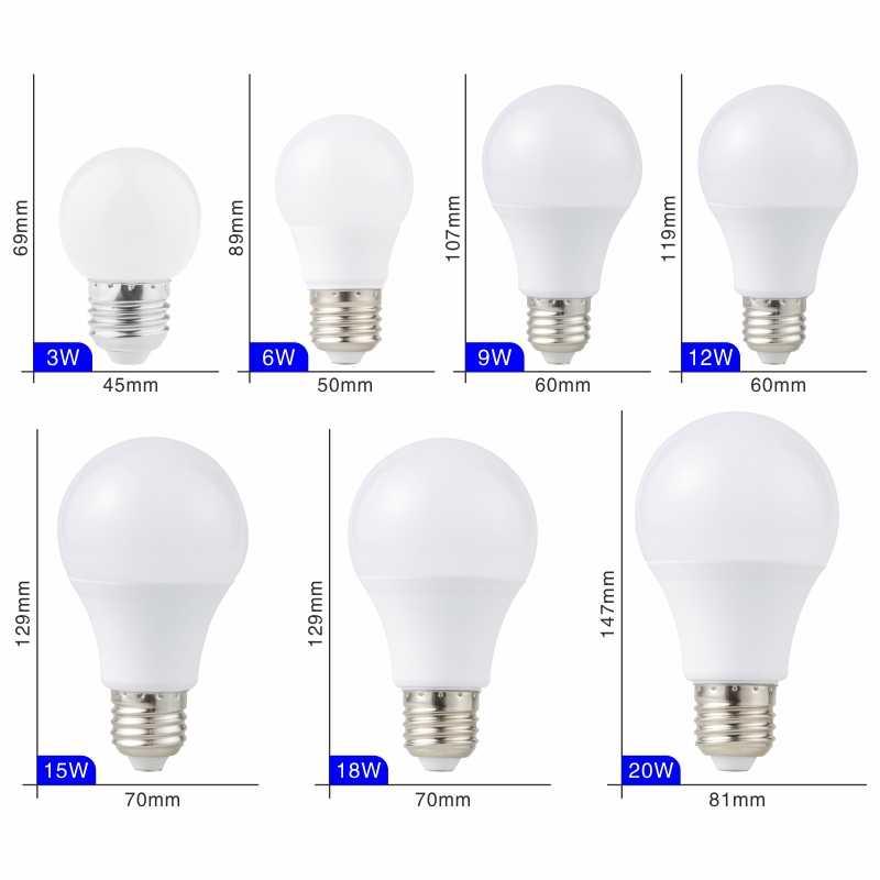 E27 E14 LED لمبة مصابيح 3 واط 6 واط 9 واط 12 واط 15 واط 18 واط 20 واط لامبادا مصباح ليد لمبة التيار المتناوب 220 فولت 230 فولت 240 فولت بومبيلا الأضواء الباردة/الدافئة الأبيض