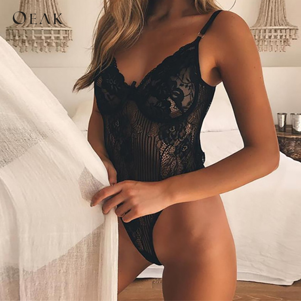 OEAK Summer Women Sexy Bodysuits Solid Lace   Jumpsuit   Slim Transparent combinaison femme 2019