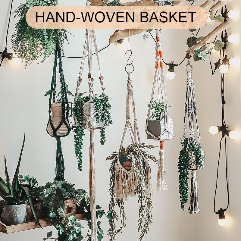 Цветочный горшок держатель корзина макраме высокого качества ручной работы макраме для растений в винтажном стиле; Из хлопка и льна украше...