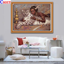 Сделай Сам Алмазная картина леопард и красота мозаика рисунок