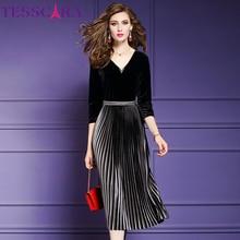 TESSCARA kobiety eleganckie frezowanie aksamitna sukienka Festa kobieta wydarzenie szata na imprezę wysokiej jakości projektant plisowane Vestidos Plus rozmiar M 4XL