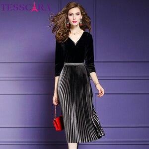 Image 1 - TESSCARA kobiety eleganckie frezowanie aksamitna sukienka Festa kobieta wydarzenie szata na imprezę wysokiej jakości projektant plisowane Vestidos Plus rozmiar M 4XL