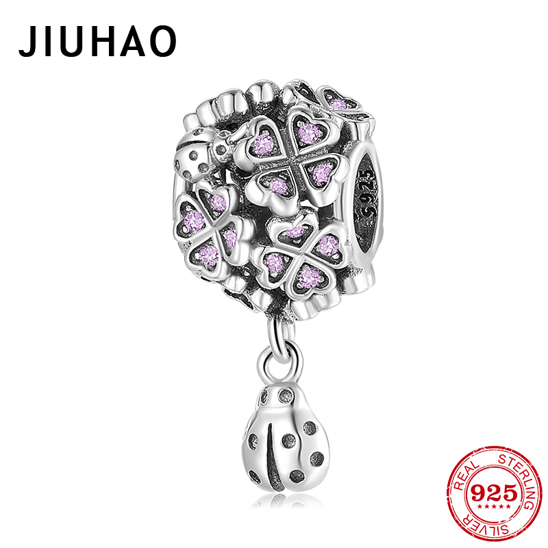 Authentic 925 Sterling Silver Lucky Clover With Dangle Ladybug CZ Bead Fit Original Pandora Charms Bracelet Women Jewelry Making