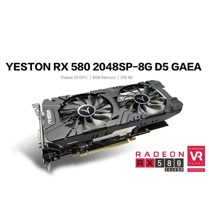 HOT-Yeston RX580-2048SP-8G D5 GAEA Image Cards Radeon Chill Polaris 20 Dual Fan Cooling 8GB GDDR5 256Bit Gaming Image Card
