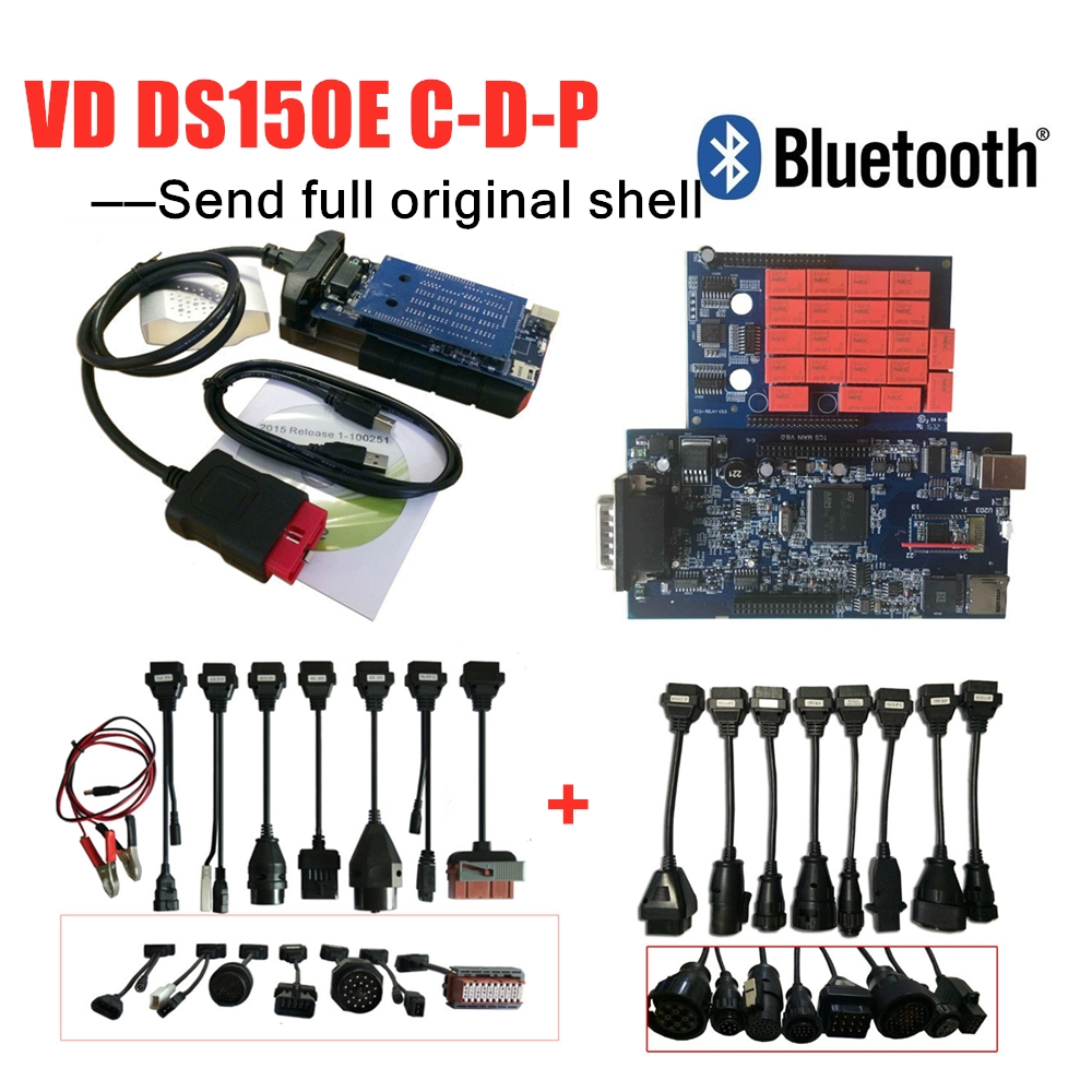 Hot Sale ! 16pc car /truck cables +<font><b>VD</b></font> DS150 CDP 2016R0 keygen with bluetooth obd scanner for delphis cars trucks diagnostic tool image