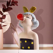 Europejskie luksusowe złote uszy królika dmuchanie baniek dziewczyna żywica popiersie dekoracji salonu wejście dekoracja stołu tanie tanio Ludzi Europa Żywica