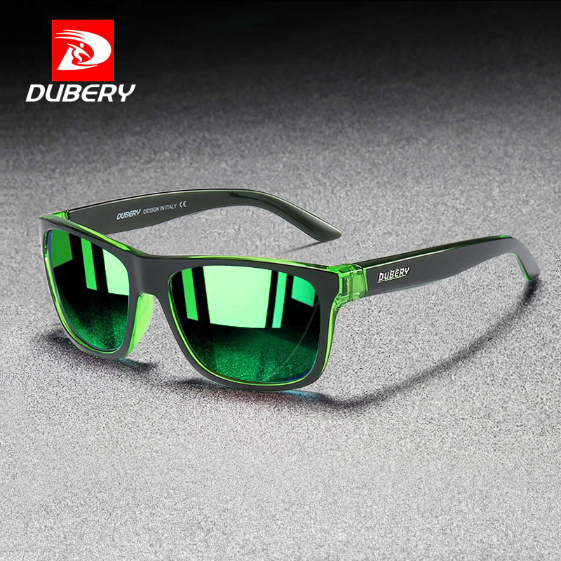 DUBERY New Square Polarized Sunglasses Men Fashion Green Mirror Shades Male UV Protection Driving Sport Sun Glasses for Men Men