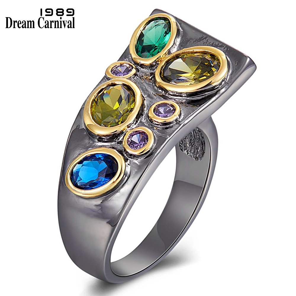 WA11784 DreamCarnival New Original CZ Rings for Women Dazzling Multi-Colors Zircon Creative Gothic Wedding Anniversary Ring Hot (1)
