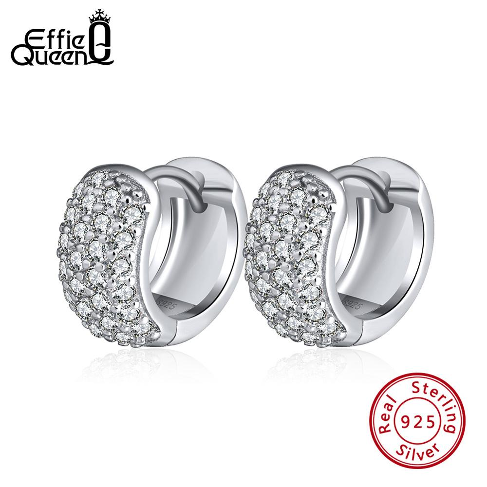 Effie Queen 925 Sterling Silver Earrings for Women with Zircon Round 11mm Hoop Earrings Vintage Silver Jewelry 2019 Gift BE101