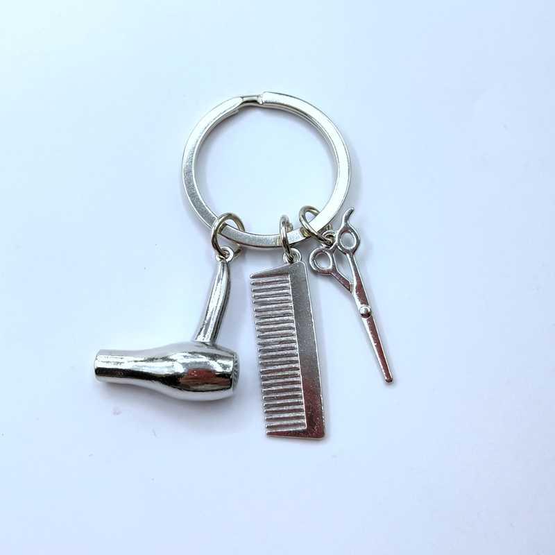 Dekoratif Anahtarlıklar Kuaför Hediye Tarak Makas Saç Kurutma Makinesi araba-styling Iç Aksesuarları Araba anahtarlıklar Anahtarlık 1 adet