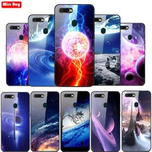 For OPPO A7 2018 Case Tempered Glass F9 F7 F5 A5 A1K Find X F11 Pro Cover Starry Sky Stars Planet Print Soft edge