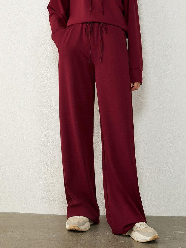 AMII Minimalism Autumn Causal Women Hoodies Set Embroidery Hooded Loose Sweater Hoodies Solid ElasticWaist Female Pants 12040389 4