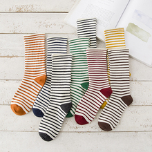 1Pair Autumn Cute Striped Socks  Women Fashion Harajuku Candy Color Cotton Socks Medias Thick Warm Striped Funny Socks striped hem net socks