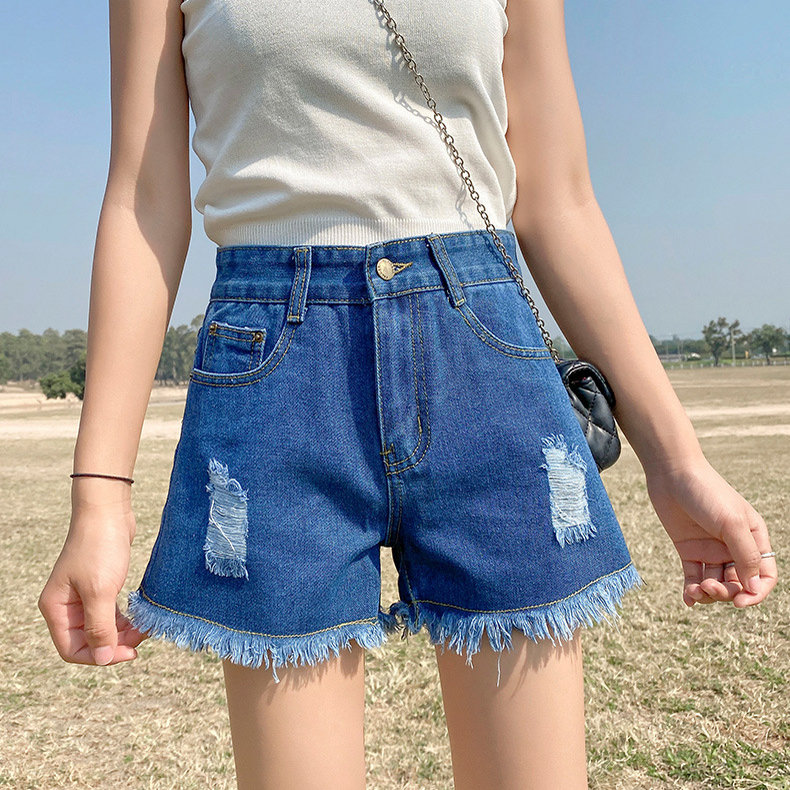 Women's Denim Shorts 2020 Summer Korean High-waisted Hot Pants Wide Legs Loose Was Thin Hole Shorts Women Highwaisted Jeans 1
