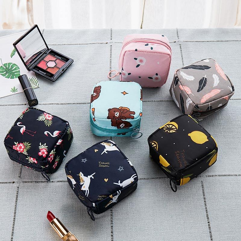 HOT Mini Flamingo Cosmetic Bags Organizer Flower Ladies Makeup Bag Girls Travel Toiletry Tampon Storage Bag Cactus Bear Pattern
