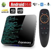 Topsion TP01 スマートテレビボックスアンドロイド 10 4 ギガバイト 32 ギガバイト 64 ギガバイト 4 18k H.265 メディアプレーヤー 3D ビデオ 2.4 グラム 5 無線 lan 、ブルートゥース、セットトップボックス