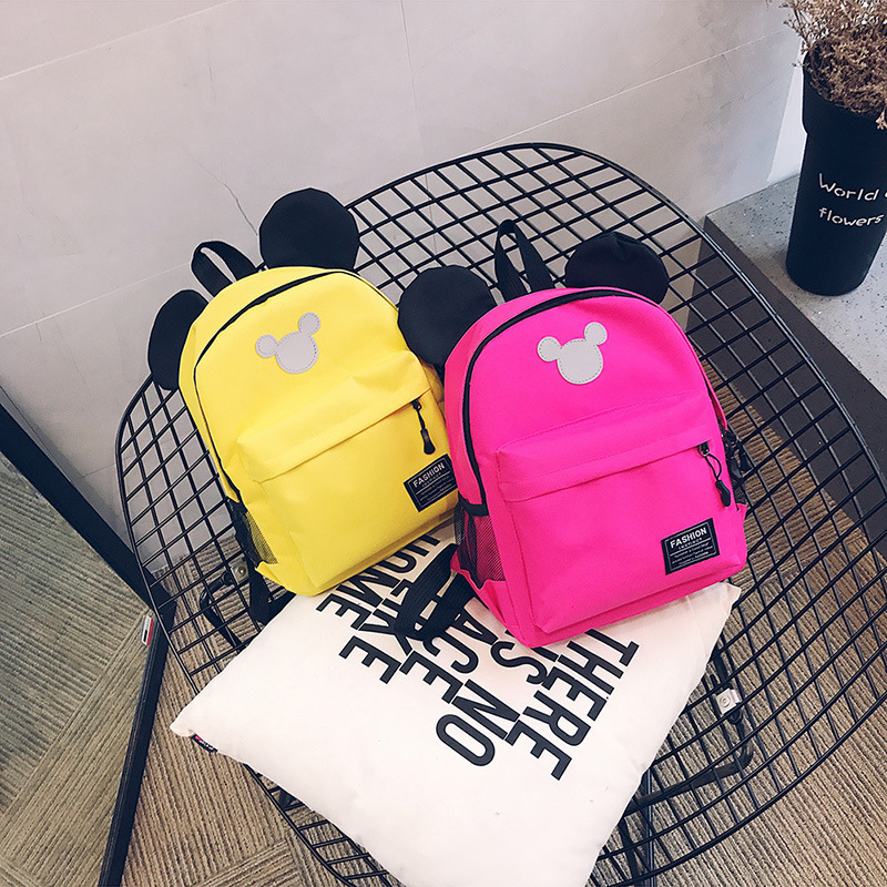 Korean-style CHILDREN'S Rucksack 2019 New Style Cute Mickey Labeling Small Double Back Simple School Bag