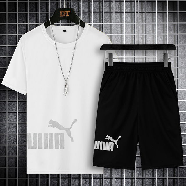 2021 Summer Men's T-shirt Set 2-piece Men's Sportswear Suit Basketball Sports Fitness  Printed Short Sleeve + Men's Suit 3