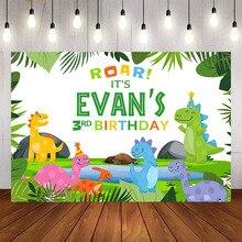 Mehofond Fotografie Achtergrond Dinosaurus Jungle Forest Animal Safari Party Pasgeboren Baby Shower Jongen Verjaardag Foto Achtergronden