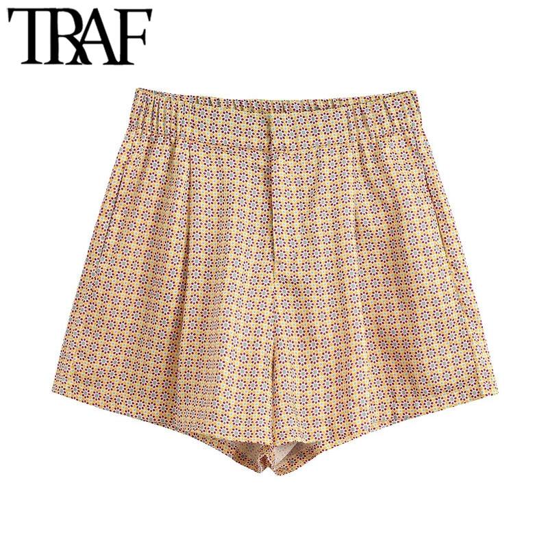 TRAF Women Fashion Geometric Print Shorts Vintage High Waist Zipper Fly Female Short Pants Pantalones Cortos