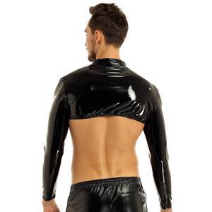 Image 4 - Wetlook à manches longues pour homme, montant clouté Muscle, anneau torique, demi haut, Sexy, boîte de nuit, boîte de nuit, toute nouvelle collection