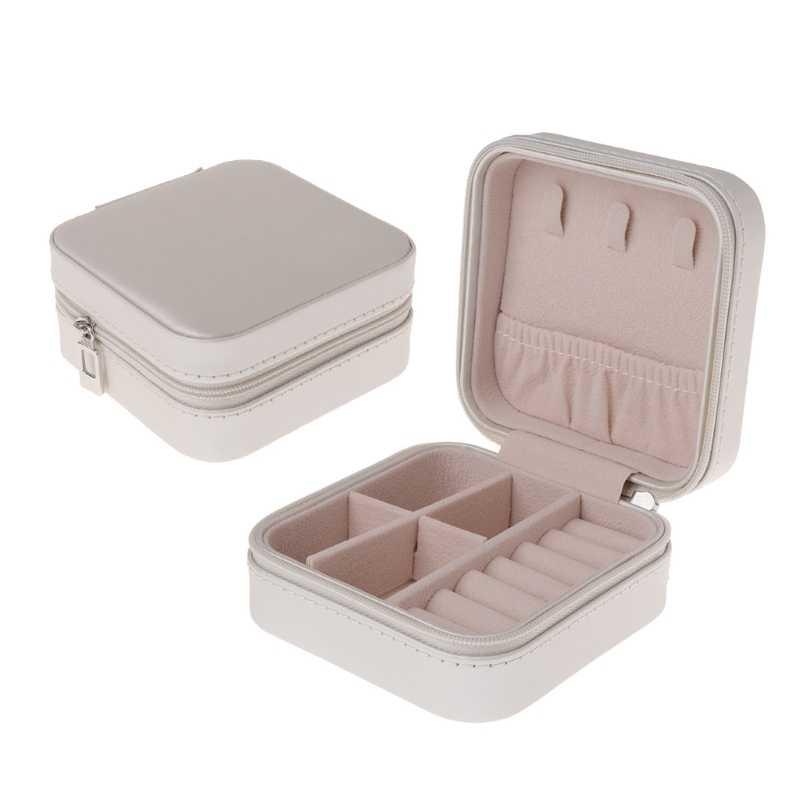 5 สีเครื่องประดับจอแสดงผลเครื่องประดับกล่องกล่องเครื่องประดับแบบพกพาซิปกระเป๋าสตางค์ซิป Jewelers