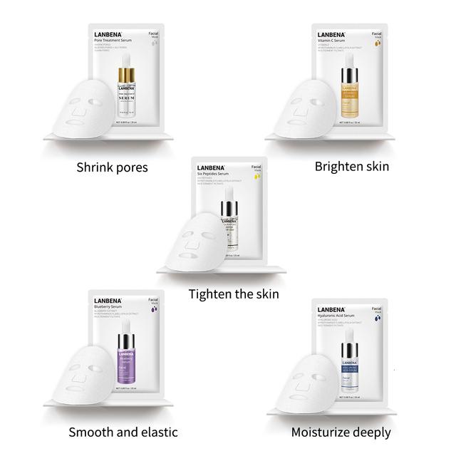 LANBENA Face Mask Blueberry Oil Control Six Peptides Hyaluronic Acid Pore Treatment Serum VC Whitening Skin Care Facial Mask