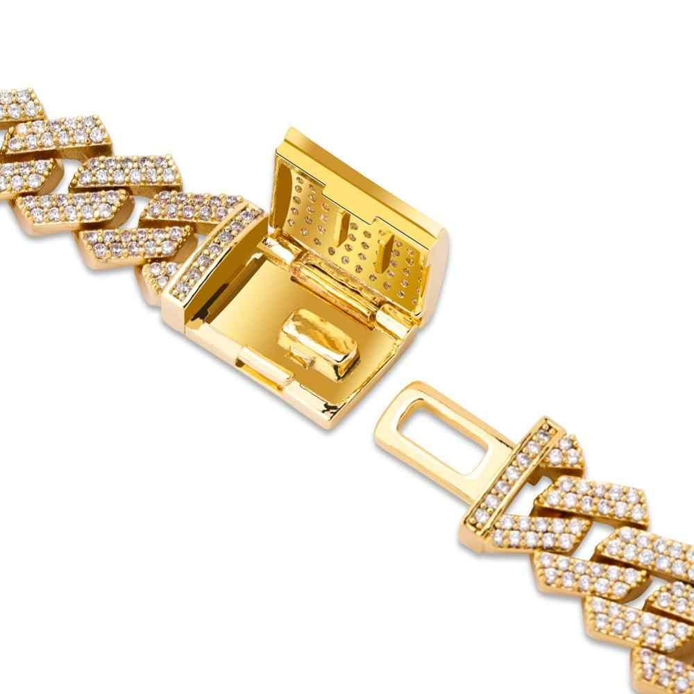 JINAO 14mm Miami nowe pudełko wielkim czerwonym Clasp kubański Link Chain złoty srebrny naszyjnik Iced Out cyrkonia Bling Hip hop dla mężczyzn biżuteria