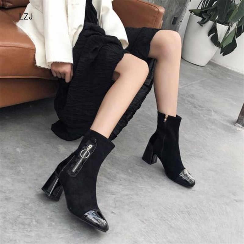 LZJ 2020 Nieuwe Herfst Mode Vrouwen Enkellaars Suede Zwarte Chelsea Laarzen Side Rits Dames Casual Dikke Hak Schoenen Hoge 6cm
