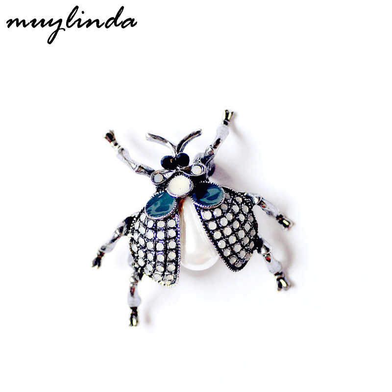 Fashion Beetle Parels Broches Pin Insect Bug Collectieve Broche Broach Vrouwen Mannen Pin Sieraden Sjaal Clip