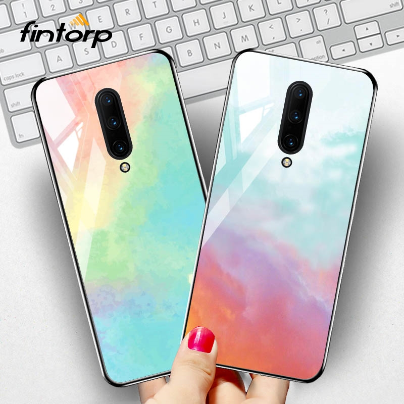 Tempered <font><b>Glass</b></font> <font><b>Case</b></font> for <font><b>OnePlus</b></font> 7 7T Pro <font><b>Cases</b></font> Dream Star Space Silicone <font><b>Case</b></font> On For One Plus 7 7T Pro Phone Cover Bumper Funda image