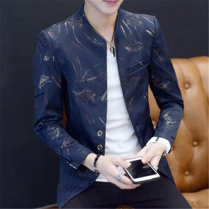 Chinese Collar Suit Jacket Gold Print Club Party Prom Jacket Men Floral Blazer Mandarin Slim Fit Blazer Homme Plus Size 6xl