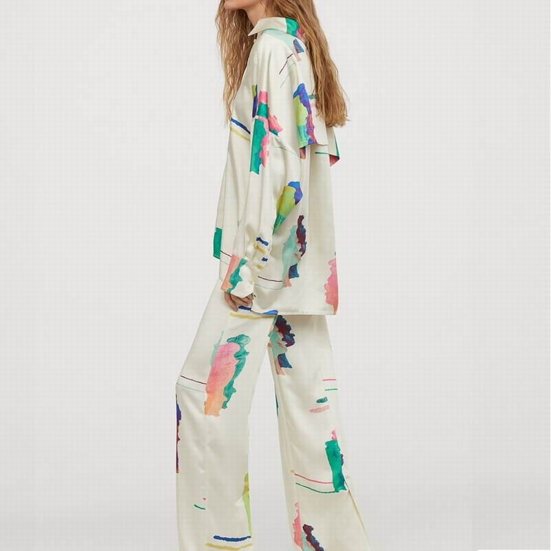 Loose Women Shirt And Wide Leg Pant 2020 New Fashion Stylish Prints Modern Lady Spring Sets