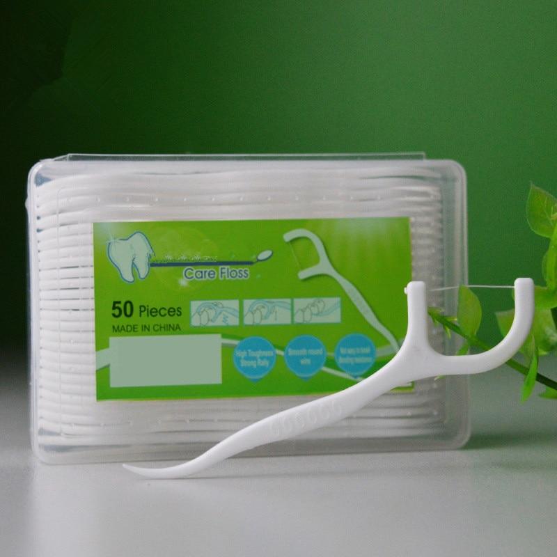 50pcs Dental Floss Flosser Picks Teeth Toothpicks Stick Tooth Clean Oral Care 7.5cm(China)