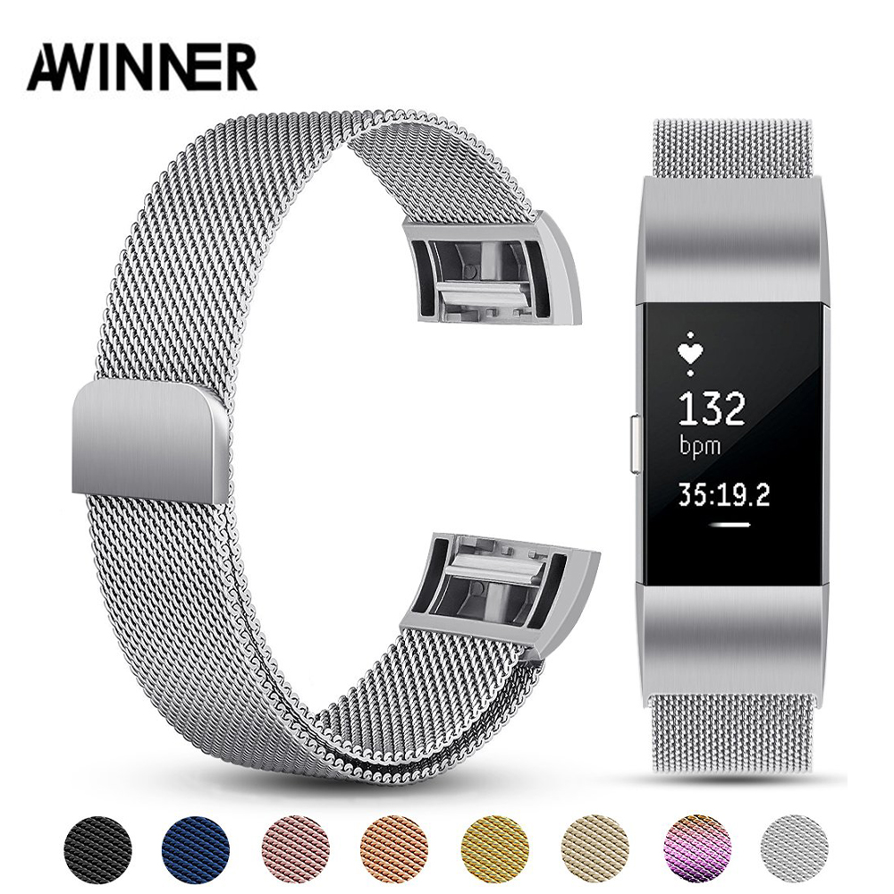 AWINNER Wristband Fit-Bit Charge2 Magnetic Stainless-Steel Replacement-Strap Fitness