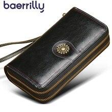 عالية قدرة النساء محافظ مع جراب هاتف محفظة نسائية للعملات المعدنية فتاة محفظة الإناث جلد طبيعي Rfid حامل بطاقة الإناث حقيبة صغيرة