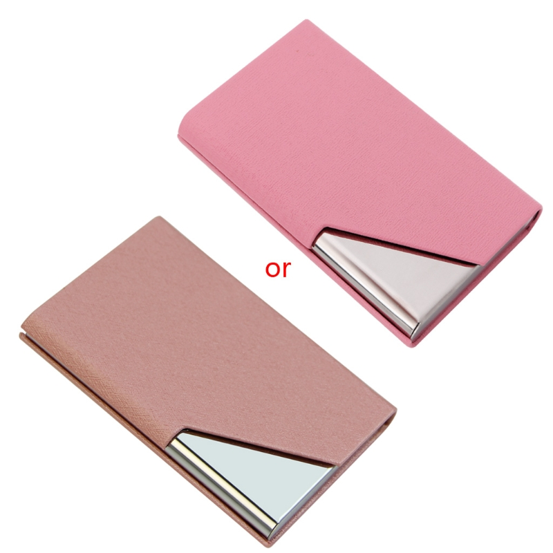 New Faux Leather Stainless Purse Business Name ID Credit Card Holder Case Box H7EC