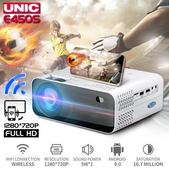 UNIC E450 HD Mini projektor natywny 1280x720P Android projektor WiFi do projekcji w domu kino 3D HDMI gra film Proyector PK CP600 tanie i dobre opinie Instrukcja Korekta Projektor cyfrowy 4 3 16 9 Focus 2048x1080 dpi 7000 Lumenów 30-300 cali 2000 01 00 Rzucanie Sufit Tylnej Projekcji