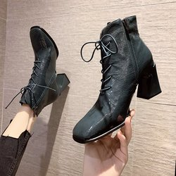 EOEODOIT Fashion Women Leather Boots Retro Square Toe Moto Booties Lace Lady High Heels Shoes 8 cm
