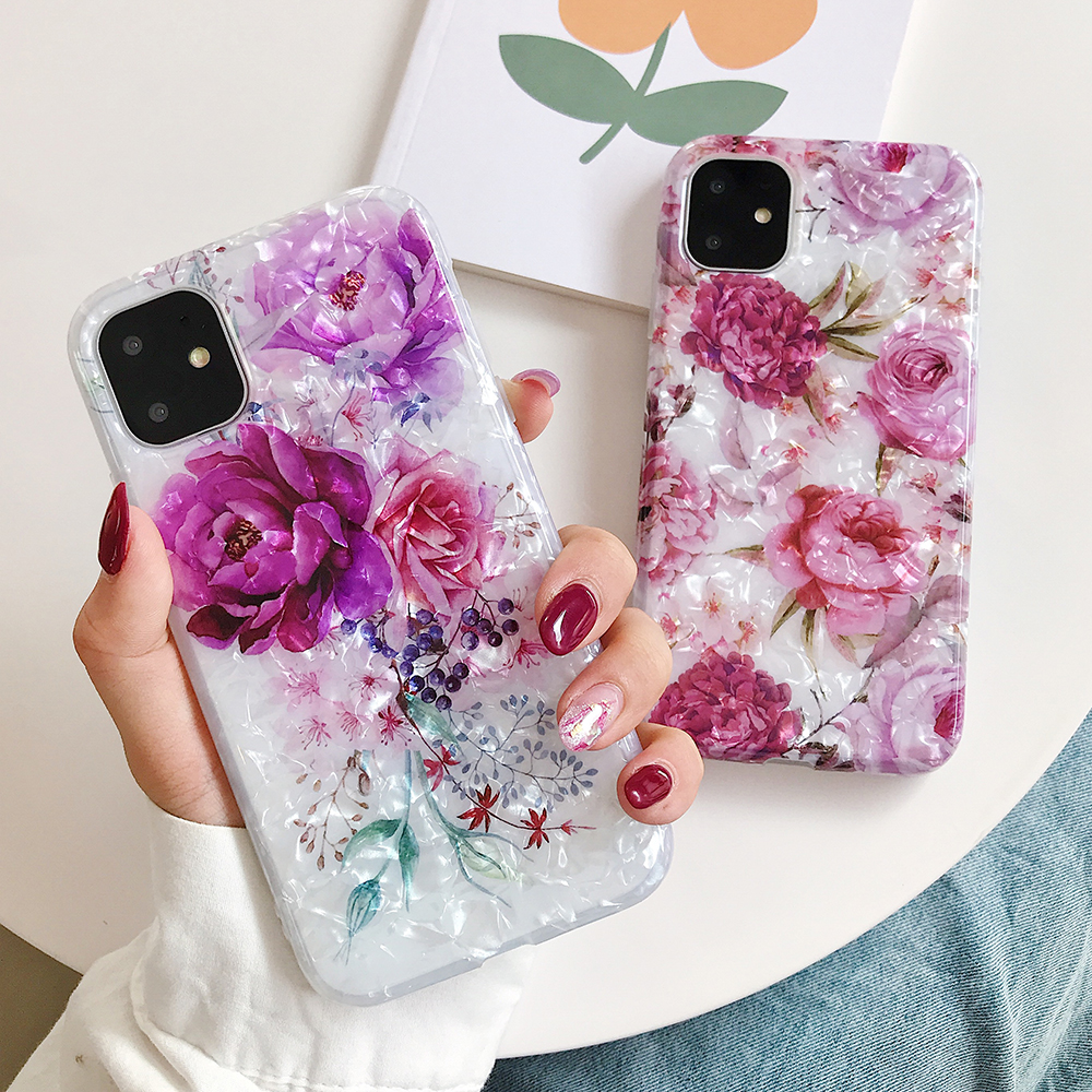 LOVECOM Retro Floral Ring Stand Phone Case For iPhone Models 16