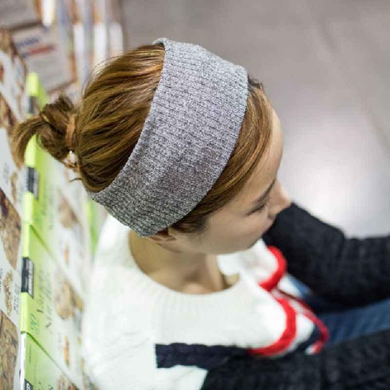 Корейская женская винтажная ребристая вязаная широкая головная повязка крест-накрест твист завязанная повязка для волос Макарон кремовый цвет эластичный макияж тюрбан