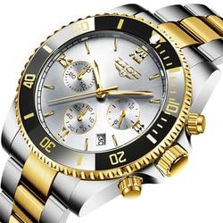 Relogio Masculino LIGE Mens Watches Top Brand Luxury Waterproof Watch For Men Fashion Stainless Steel Sport Golden Quartz Clock